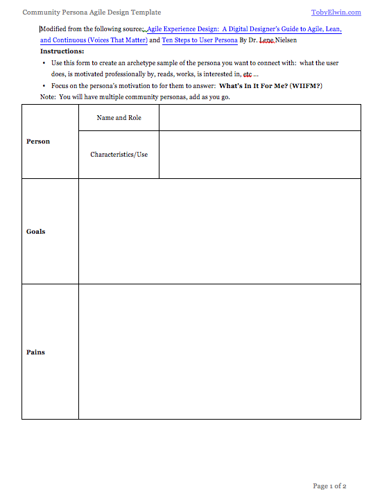 community, persona, worksheet
