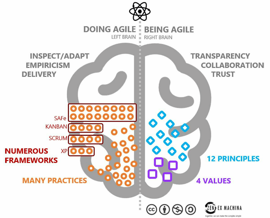 doing Agile, being Agile, brain, practice, inspect, adapt, culture