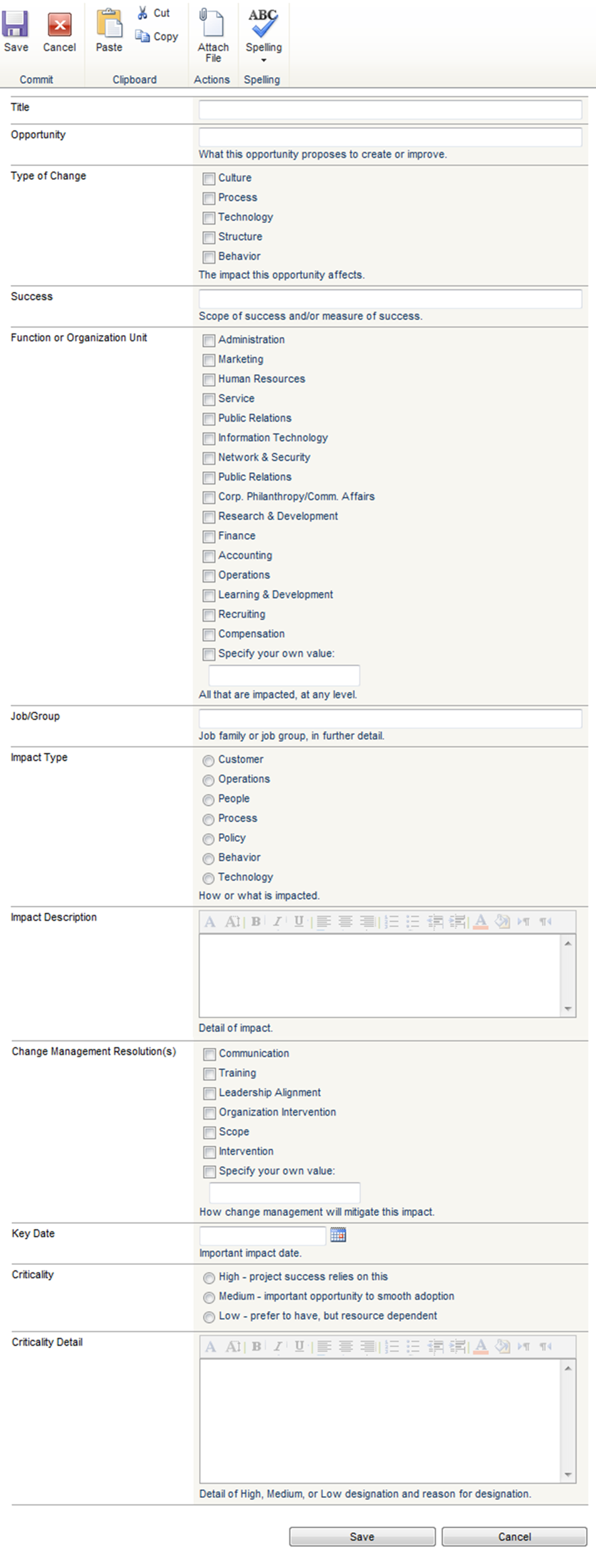 Impact Analysis template for SharePoint Project Management
