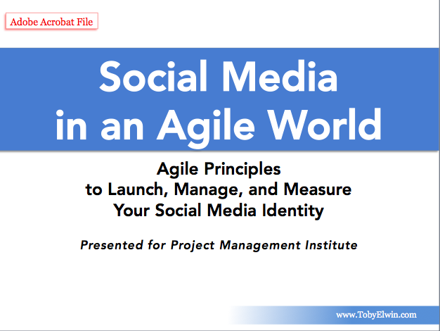 Agile social media, project management, web 2.0, toby elwin, project management